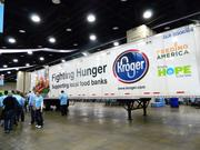 This message on a large trailer inside the Kentucky Exposition Center highlighted The Kroger Co. support of food banks.