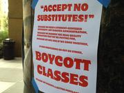 """Signs posted around Portland State's campus encourage students to """"boycott classes"""" if the university's faculty strikes on April 16. It would be the first faculty strike at an Oregon university."""