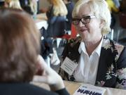 Suzanna Darcy-Hennemann (right), chief pilot at Boeing Flight Services, was one of 43 mentors at Monday's event.