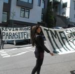 Protesters picket Google Ventures' <strong>Kevin</strong> <strong>Rose</strong>'s home, label him a 'parasite'