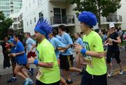 That hair had better be color fast or they're gonna look like Smurfs at the finish line.