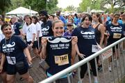 The team from CFE Federal Credit Union looks happy. But, again, this is the start of the race.