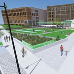 Newaukee/Associated Bank's Haymarket Square Park will offer shuffleboard, maybe community gardens
