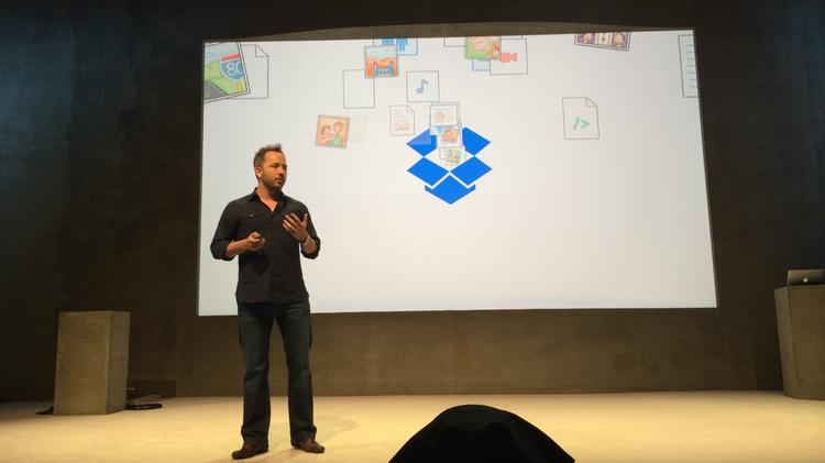 Dropbox CEO Drew Houston touts his company's new features for sharing photos, collaborating on documents and managing email.
