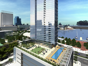 This rendering shows the seventh-floor amenities, which includes a resort-style pool and cabana, for the proposed 43-story apartment tower at 414 Light St.