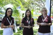 From left, Judy Nakatsu, Jenny Kam and Jackie Scotka of Pali Momi Medical Center, one of the sponsors of the LPGA LOTTE Championship.