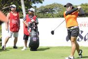 Moriya Jutanugarn teeing off from the first hole of the LPGA LOTTE Championship.