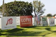 Some of the sponsor signs were set up in the practice putting green for the LPGA LOTTE Championship at Ko Olina Golf Club.
