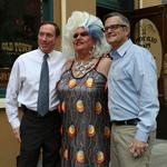 Adams and Saltzman throw the (pizza) dough around with Darcelle (Photos)