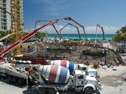 About 12,000 cubic yards of concrete were used for the tower's foundation.