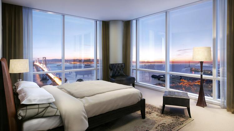 A Model Bedroom In A Corner Unit In Tower Two Of One Rincon Hill.