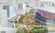 A large plaza rings the glass-enclosed arena proposed to house the Sacramento Kings at the site of the current Downtown Plaza.