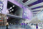 The lobby and concourse that rings the proposed arena for the Sacramento Kings offers a clear view of downtown Sacramento.