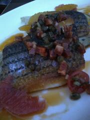 Sea bass with citrus, endive and chorizo chimichurri