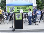 """The Capitol Bike Fest, held on the steps of the Capitol in Sacramento, helped celebrate """"May is Bike Month."""" People who logged their miles ridden could enter a raffle for free bikes."""
