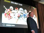 Jacksonville Jaguars Team President Mark Lamping speaks during the State of the Team address Tuesday Afternoon.