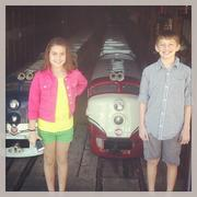 Claire and Conrad Gregory prepare for National Train Day in May at Kansas City Northern Railroad.