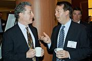 Conversing over coffee during the social hour preceding the BBJ Pacesetters 2013 Select 70 awards were presenting partner Prince Lobel's Mitchell King and Rick Sousa.