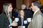Beacon Hill Staffing's Lindsay Reardon and Samantha Abjulla with Packard Design's Keith DeRosa at the social hour preceding the BBJ Pacesetters 2013 Select 70 awards.