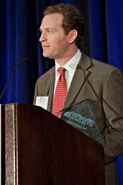 Matt Nagler of KBW Financial Staffing & Recruiting accepts their Pacesetter award at the BBJ Pacesetters 2013 Select 70 awards breakfast.