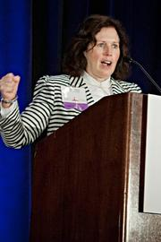 """Laurie Watson of LPM Franchises was one of many to say """"Stay Strong Boston"""" while accepting their company's Pacesetter award at the BBJ Pacesetters 2013 Select 70 awards breakfast."""