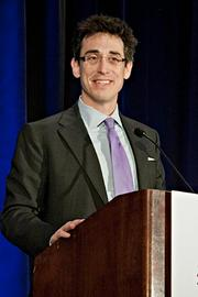 Evan Falchuk of Best Doctors paid tribute to the first responders at the Boston Marathon bombing during his acceptance of Best Doctors' Pacesetter award at the BBJ Pacesetters 2013 Select 70 awards breakfast.
