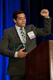 """Nicholas Colander from Consumer United joined many in stating """"Boston Strong"""" while accepting their Pacesetter award at the BBJ Pacesetters 2013 Select 70 awards breakfast."""