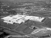 An aerial view of the Lorillard Tobacco Co. manufacturing plant in Greensboro, circa late 1950s.