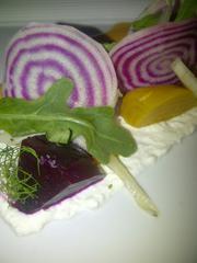 Heirloom Beets, Seacat Gardens arugula, Gina's homemade ricotta, pickled fennel and citrus vinaigrette