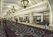 A rendering of the River City Hotel pre-function area. (you could call it lobby area instead of prefunction area)