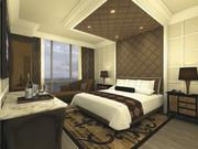 A rendering of the bedroom in a suite at the soon-to-be complete River City Hotel.