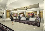 A rendering of the River City Hotel registration area.