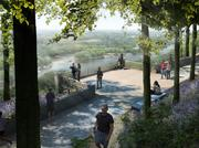 An artist's rendering shows the view from one of the proposed public parks that is planned at Chatham Park in Pittsboro. Chatham Park is slated to have more than 2,000 acres of parks and open space.