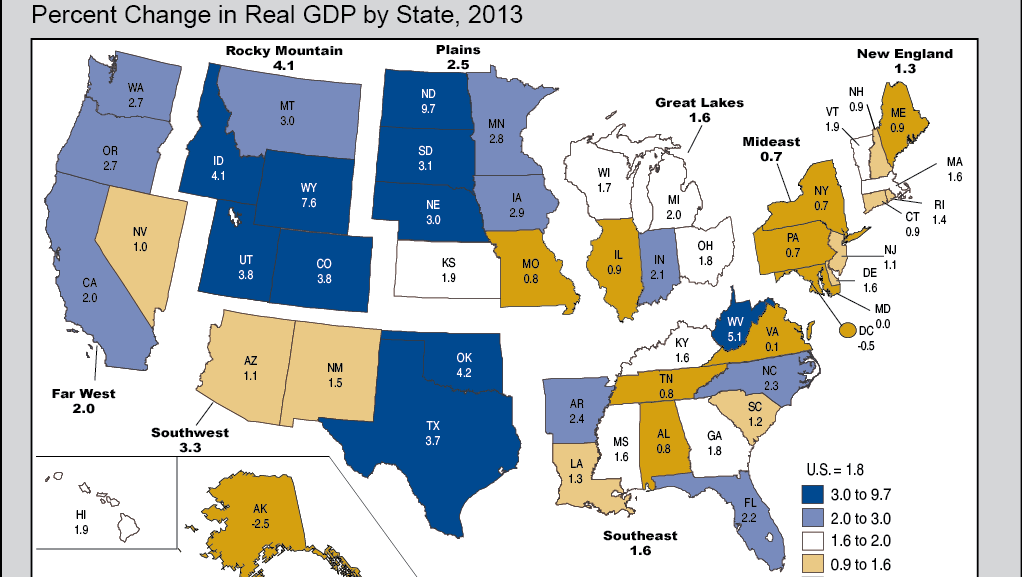 Marylands Economy Had No Growth In  Ranking Th In US - Us gdp map