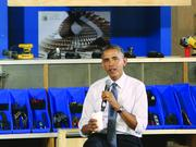 President Barack Obama speaks Tuesday afternoon at TechShop Pittsburgh at Bakery Square.
