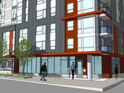 Mill Creek Residential is planning to develop a seven-story apartment building on the site of the former Hostess bakery in Seattle. This view shows the project's main entrance at Dexter Avenue North and Republican Street.