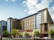 This is the 9th Street NW view of the proposed Columbia Place from Quadrangle and Marriott.