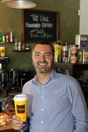 Raphael Perrier  at one of Kahwa Coffee's St. Petersburg locations.