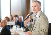 Puget Sound Business Journal editor George Erb during a Business Journal Live Event at the Harbor Club in Bellevue on Thursday.