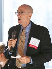 Tim Jones of Bank & Office Interiors/BarclayDean during a Business Journal Live Event at the Harbor Club in Bellevue on Thursday.