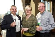 From left, George Kychakoff of Enertechnix, Mary Beth Maines of SNP Communications and Jim Downing during a Business Journal Live Event at the Harbor Club in Bellevue on Thursday.