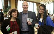 From left, Connie Kanter and Brooks Simpson of Pacific Rim Medical Systems and Carmen Cueto of Seattle University during a Business Journal Live Event at the Harbor Club in Bellevue on Thursday.