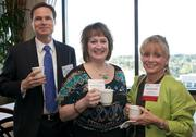 From left, Scott Davis, Deanna Richards and Annette Smith of Bank & Office Interiors/BarclayDean during a Business Journal Live Event at the Harbor Club in Bellevue on Thursday.