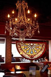 Renovated restaurants got new carpeting, fixtures and lighting, including a chandelier and stained glass at this one in Gahanna.