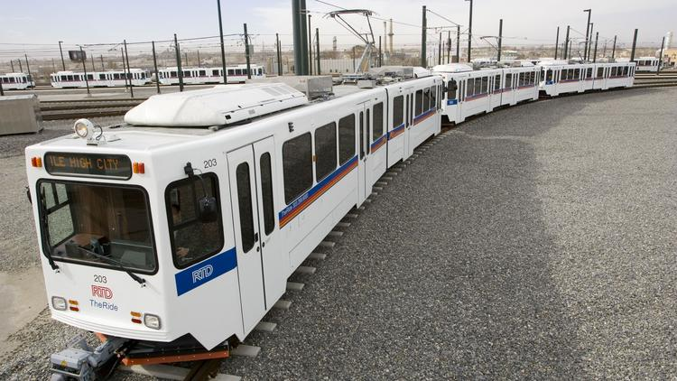 A RTD train sits at the corporate office, located between the Evans and Broadway stations. RTD is trying to get personal protective equipment for its 3,060 employees.