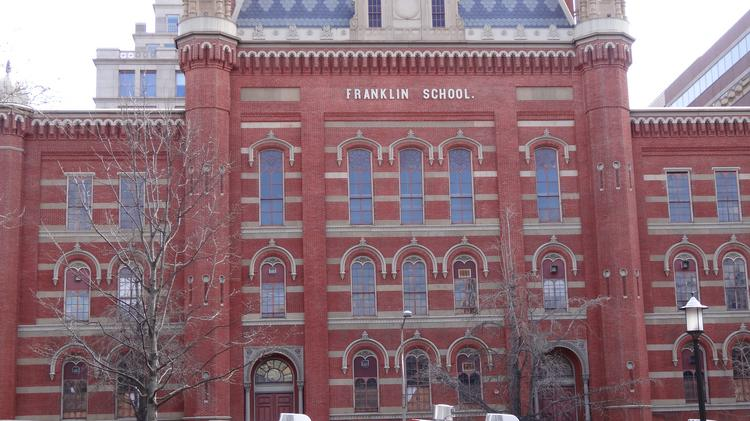The Franklin School at 13th and K streets NW sits adjacent to Franklin Park. It will be renovated into Planet Word, a language arts museum.
