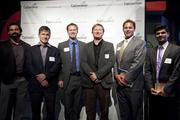 """From left to right, SaveOnCouriers CEO Brian Houston, best-selling author of """"Starting Something"""" Wayne McVicker, LocalWork.com President Ryan Naylor, Creative Allies' Greg Lucas, Obelus Media inventor David Grundfast, Convrrt founder Dhruv Patel."""