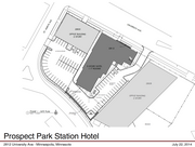 A site plan for the Prospect Park Hampton Inn proposal