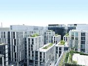 CityCenterDC, which offers more public open space than that site's former layout, is presented in a more uniform design, save the dark office buildings at the west end.