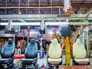 Tesla Model S seats are pictured on an assembly line at Futuris Automotive's 160,000 square foot plant and office space in Newark, Calif.